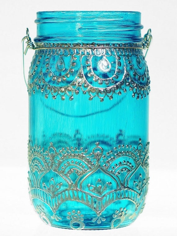 Mason Jar Lantern Moroccan Inspired Teal Glass with Silver