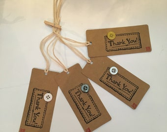 Handmade - Hand Stamped - Thank You Gift Tags - Set of 4 - Button Design - Gift Labels