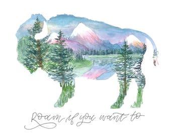 Roam Buffalo/Bison Print