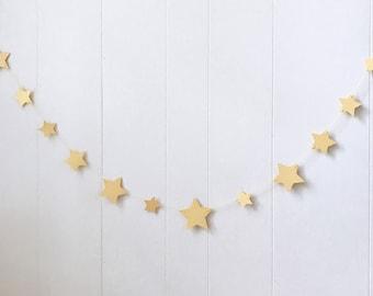 Gold Star Garland- Nursery Garland -Kids Room Decor - Bridal Shower - Wedding Decor - Photo Prop