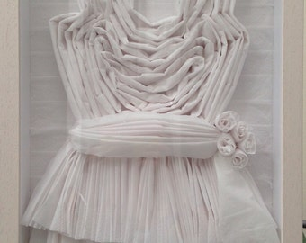 3D Paper Dress in wooden box