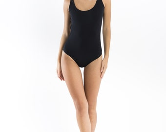 Black One Piece swimsuit // High quality spandex // Low scoop back