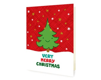 Happy Tree Gold Foil Christmas Cards, Box of 8 - Foil Stamped Holiday Cards - Very Merry Christmas - OC1186-BX