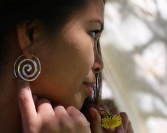 Circle of life earrings - Silver, energy, spiral earrings, traditional,