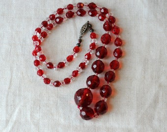 """Vintage Czech Red Crystal Necklace, 24"""" Long, Matinee Length, KC098"""