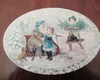vintage DECORATIVE TIN- Christmas, victorian, chilren, floral, oval