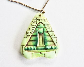 Egyptian Revival Pressed Glass Pendant on Chain