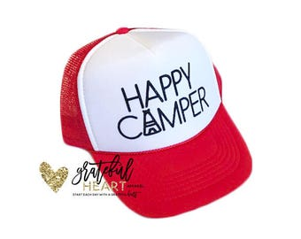 Happy camper hat, Camping hat, Kids trucker hat, Adult trucker hat, 4th of July hat, Toddler hat, beach hat, Vacation hat, Camping outfit