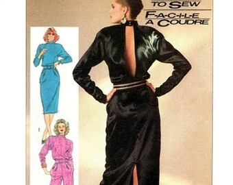 Simplicity 7848 Racy Dress or Jumpsuit with Open Back 1986 / SZ6-10 UNCUT