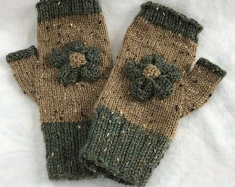 Fingerless Mitts, hand knit with flower embellishment