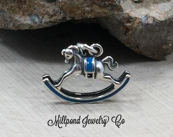 Rocking Horse Charm, Child Charm, Child's Toy Charm, Horse Charm, Horse Pendant, Sterling Silver Charm
