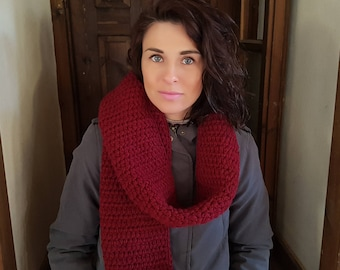 women long scarf, Wool scarf, chunky scarf, oversized scarf, winter crochet scarf, 3 colours grey bordeaux blue navy color, Women knit scarf