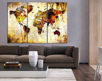 Navy blue push pin world map wall art canvas detailed old push pin travel world map wall art print world map canvas for bedroom extra large gumiabroncs Image collections