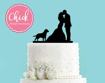 Couple Kissing with Labrador Retriever Dog Wedding Cake Topper