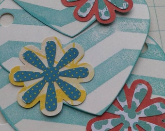 Large Heart Tags Teal Chevron Stamped Paper Heart Labels