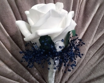 Artificial Navy Blue and white Buttonhole/Boutonniere, Groom, Bestman, Groomsmen, Ring bearer
