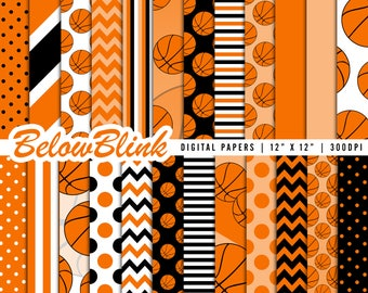 Basketball Digital Paper, Basketball Scrapbook Papers, Baby Shower, Birthday Party Decorations - Instant Download - DP438