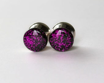 Ear Plugs and Tunnels, Gauges, Purple and Black Glitter size 4g, 2g, 0g, 00, 7/16, 1/2, 9/16, 5/8, 3/4, 7/8, 1""