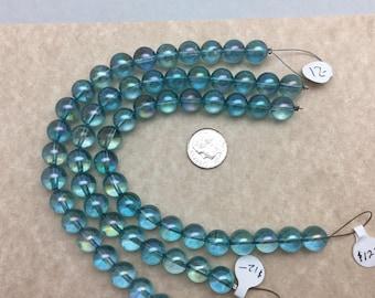 Aqua Aura Quartz beads 10mm Round