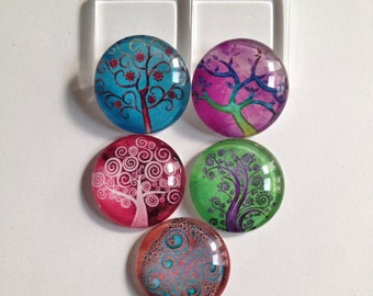 Tree of life magnets, Tree magnets, Colorful magnets, Tree magnet set, Nature magnets, Kitchen magnets, Cubicle decor, Teacher gift, Gifts