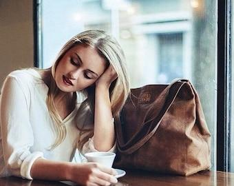 Clearance / Brown leather bag- Soft leather purse - Tote bag- Women bag- Leather tote - Oversized bag - Shoulder bag
