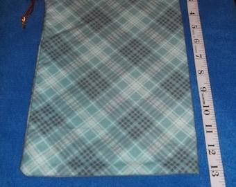 Mint Tartan Patterned Handmade Drawstring Bag