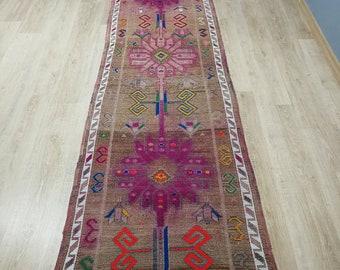 Vintage Runner Rug Muted Herki Rug Handwoven Rug Kurdish Antique Rug Wool Rug 2.7 x 13.3 ft