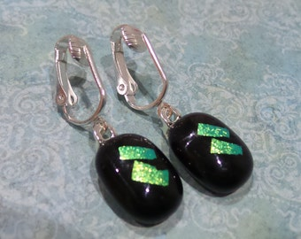 Dangle Clip Earrings, Golden Green Dichroic Clip On Earrings, Fused Glass Jewelry, Ready to Ship - Sylvia -6
