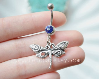 Silver dragonfly belly button ring, dragonfly belly Rings, Navel Piercing, animal belly rings, Dangle Belly Ring , Belly Button Piercing