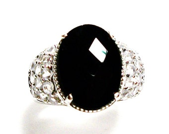 "Black spinel ring, black cocktail ring, engagement ring, black jewelry, black, s 5 3/4  ""Ladies Night"""