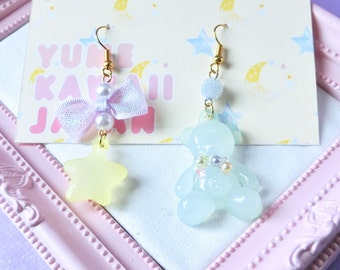 Sweet Lolita Pastel goth yellow star  bow bear earrings Kawaii Earrings, Fairy Kei Jewelry, Sweet Lolita Jewelry,Japanese Kawaii Jewelry