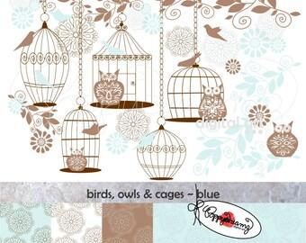 Birds Owls & Cages Blue Paper and Elements SET: Digital Scrapbook Paper Pack (300 dpi) Wedding Baby Shower Floral Brown Blue