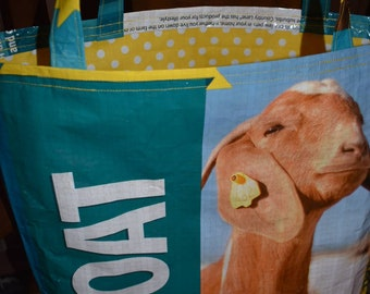 Recycled feed sack with a yellow polka dot liner to match tote/bag/purse/shopping bag/grocery/stock show