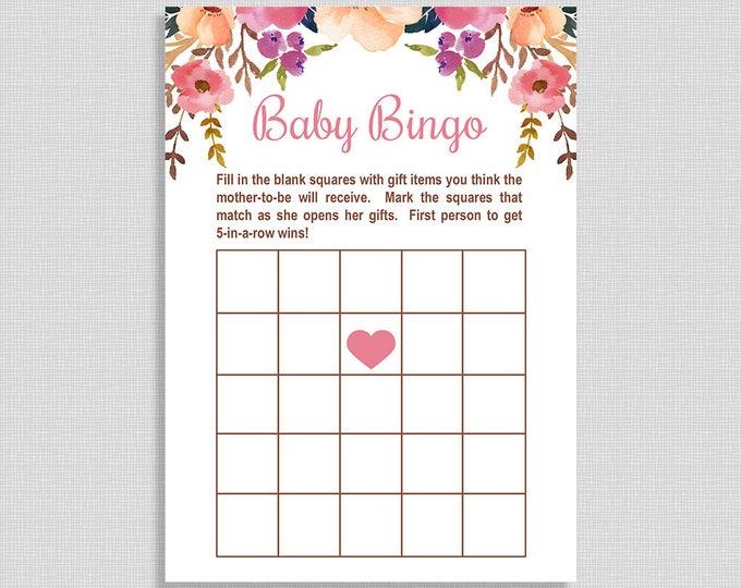 Baby Shower Bingo Game, Watercolor Floral Baby Shower Game, Boho, DIY Printable, INSTANT DOWNLOAD
