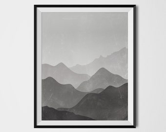 Mountains Print, Printable Wall Art, Digital Prints, Printable Artwork, Wall Art, Mountain Art Print, Wall Prints, printable art, minimalist