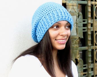 Crochet Slouchy Hat, Women, Men, Teen, Slouch Hat, Tam,  Adult, Aqua, Ribbed,