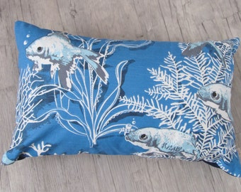 "Koi Fish Cushion 30x50cm (12""x20""), Japanese Koi Carp, Koi in handmade, corals, shells, seaweed, ocean, sea life, Father's Day, aquamarine"