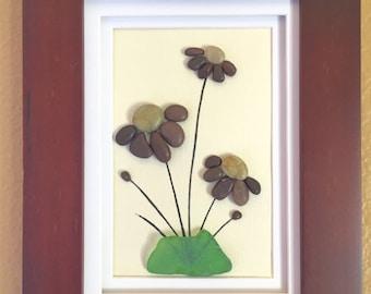 Pebble art, sea glass art, beach home decor, wall art decor, flowers, wall hanging, framed art