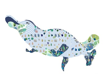 platypus art print, Australian animal art, abstract animal art, kids bathroom art, boy nursery decor, kids wall art, Australian animal print