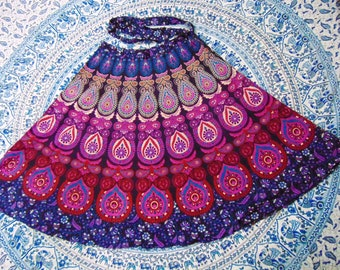 Indian Mandala Cotton Wrap Skirt Free Size Handmade Summer Skirt Bohemian Tapestry Skirt Ladies Clothing Wraparound Skirt