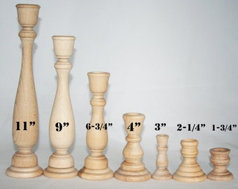 Unfinished Wood Candlestick Holders- DIY Wedding Accents, Home Decor, Cake Tier Spacers- Various Sizes