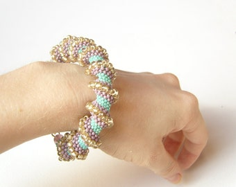 Spiral Beaded Bracelet : Bead Woven Bracelet, Chunky Cellini Spiral Bracelet UK