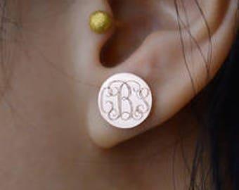 Monogrammed Earrings, Gold Stud Earrings, Engraved Earrings