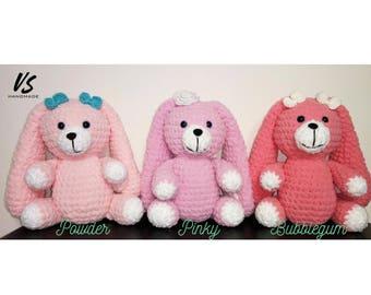"10"" Cute pink velveteen rabbit SOFTIE plush BUNNY long ears floppy eared amigurumi crochet soft toy baby shower gift playground newborn girl"