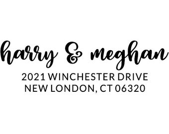 Calligraphy personalized Return address stamp FREE LABELS included