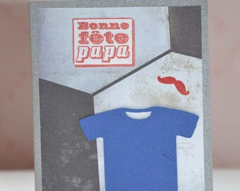 Good day Dad football shirt and mustache card