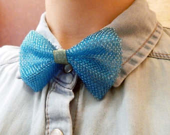 Little bowtie - small neck accessory - blue turquoise aquamarine bow tie for women on organza ribbon - seed bead jewelry - handmade beadwork