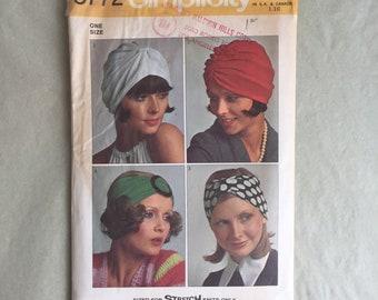 Vintage 70's Turban Pattern, Knit Turban Pattern, Headwrap Pattern, Simplicity 5772,  OSFA, Hippie, Boho, Bohemian,
