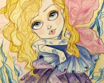 Fantasy Fairy Marley Faerie Big Eye Art Print by Leslie Mehl
