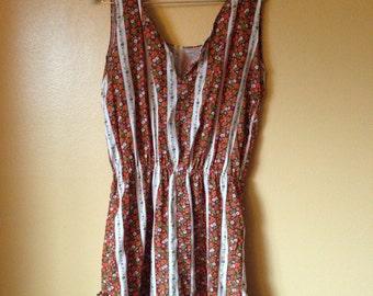 Vtg 70s Calico Cotton Floral Sun Dress